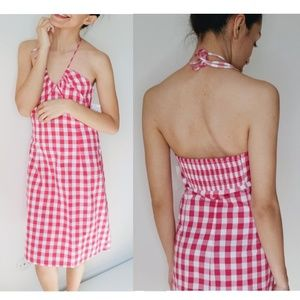 NWT Halter Checkered Red Midi Dress